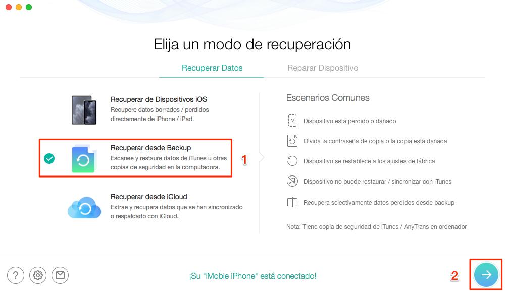 Cómo recuperar copia de seguridad iPhone sin límite - Paso 1