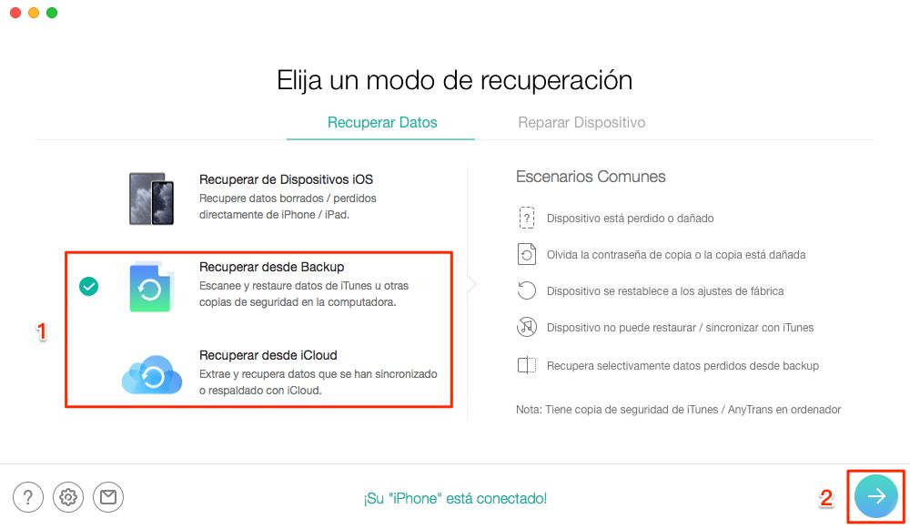 Seleccione Recuperar desde iCloud - Paso 1