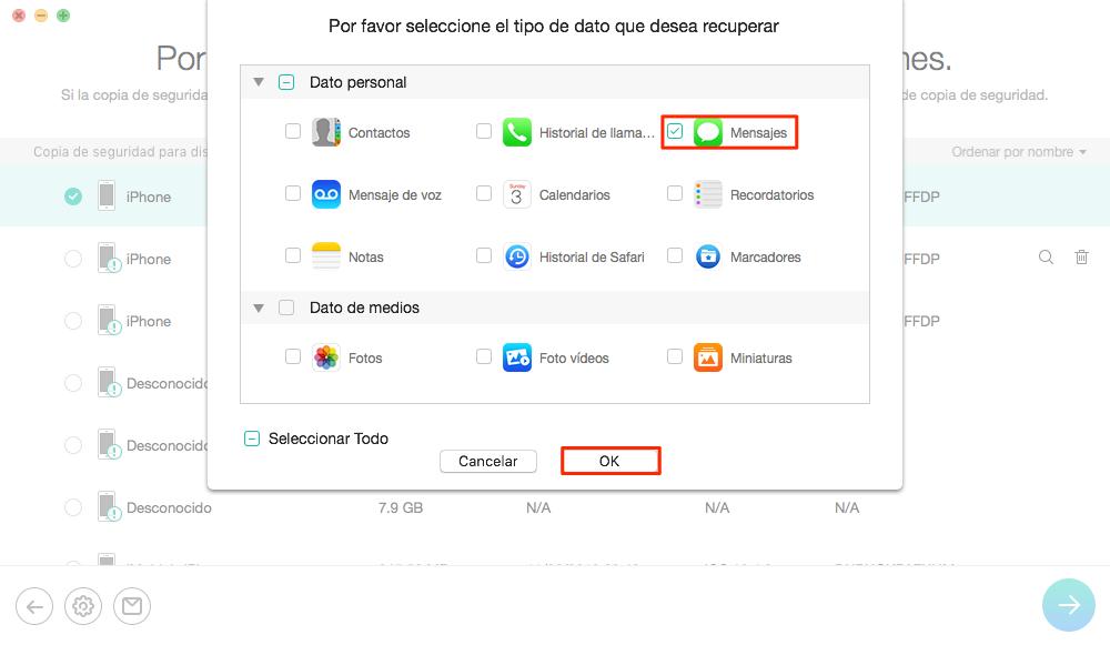 Cómo extraer los mensajes de texto desde iTunes Backup- Paso 2