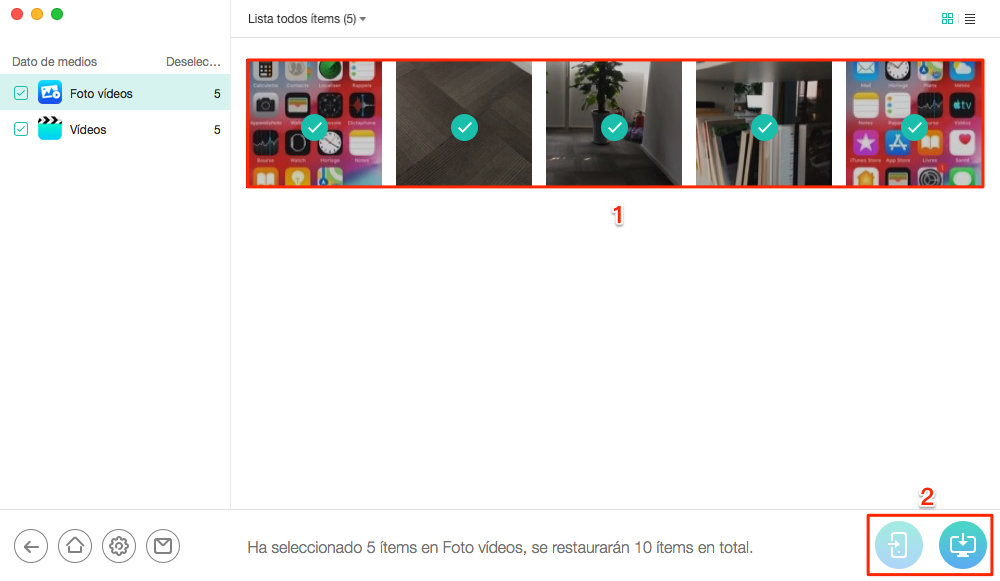 Programa para recuperar videos borrados del celular iPhone - Paso 4