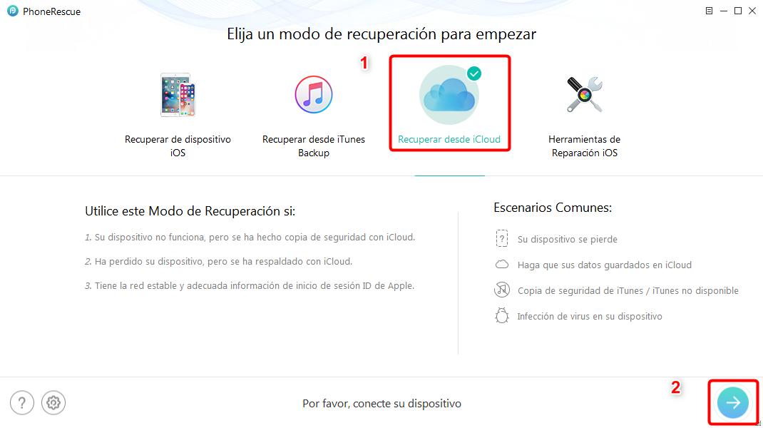 Recuperar fotos de iCloud fácilmente - Paso 1
