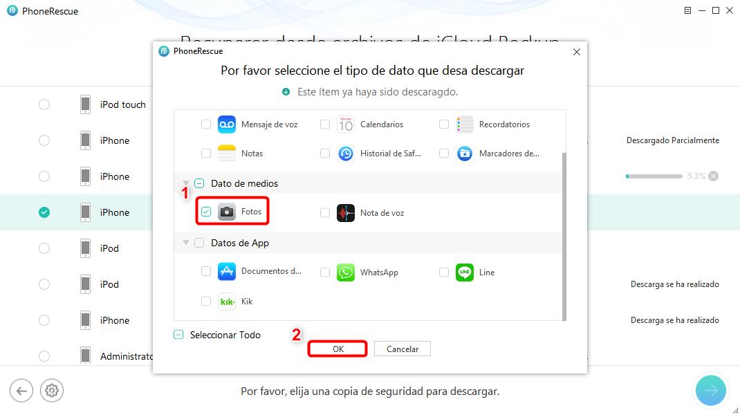 Recuperar fotos de iCloud fácilmente - Paso 5