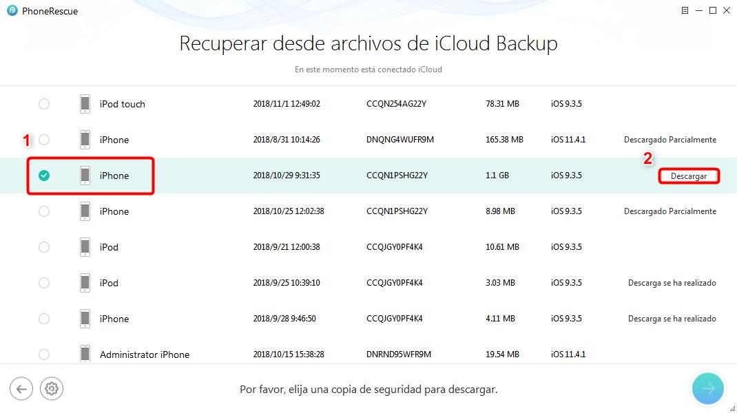 Cómo recuperar fotos de iCloud copia de forma selectiva - Paso 4