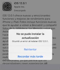 Ocurrió un error al instalar iOS 12