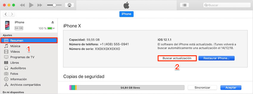 Actualiza iDispositivo a la última versión de iOS con iTunes
