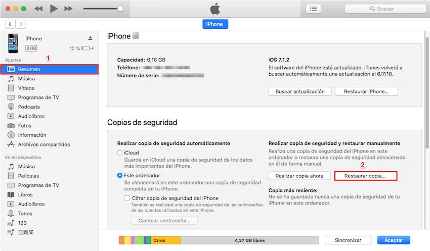 Qué hacer si olvide la contraseña de mi iPhone /iPad - Restaurar dispositivo con iTunes - Paso 3