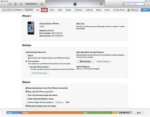 Ordenar iconos iPhone a través de iTunes - Paso 1