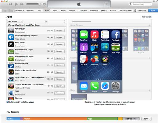 Ordenar iconos iPhone a través de iTunes - Paso 2