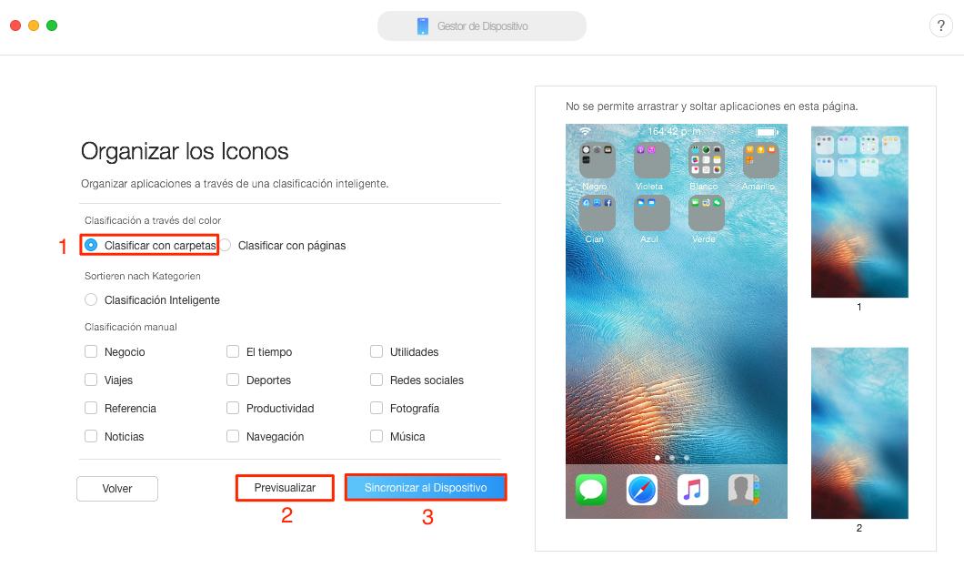 La forma más fácil de ordenar iconos iPhone - Paso4