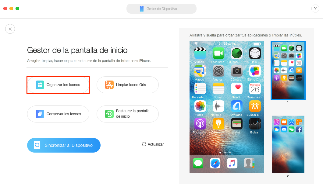 Organizar Apps iPhone a través de AnyTrans para iOS - Paso 2