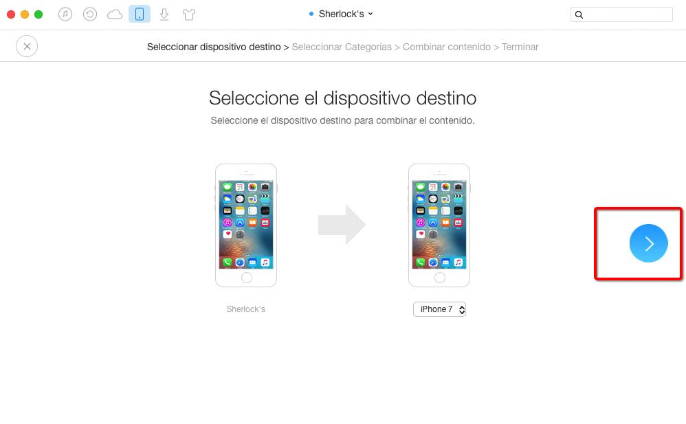 Cómo pasar calendarios de un iPhone viejo a un nuevo iPhone 7 con AnyTrans – Paso 2