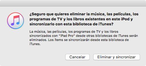 iTunes Sync borrará las canciones existentes
