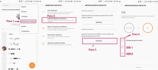 Transferir contactos de Samsung a iPhone con SIM Card