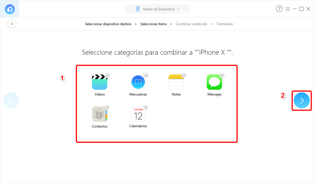 Pasar datos a un nuevo iPhone por AnyTrans - Paso 3