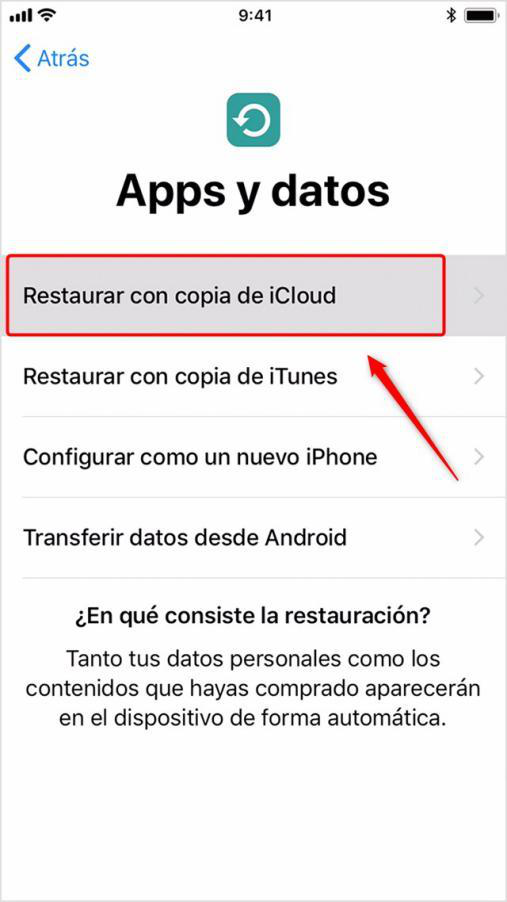 Pasar datos al nuevo iPhone X / 8 (Plus) por iCloud