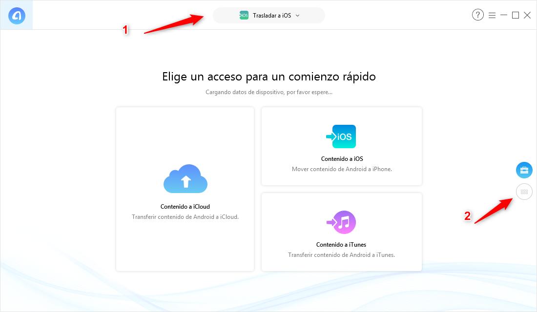 Pasar datos de Android a iPhone XR / XS / XS Max con un clic - Paso 1