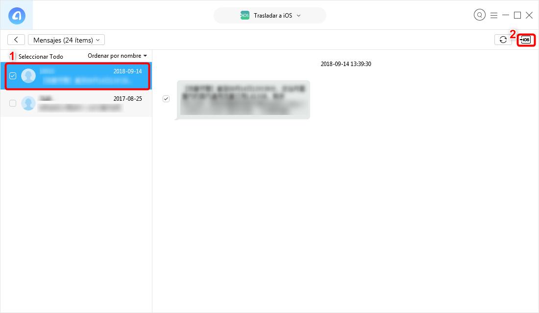 Pasar datos de Android a iPhone XR / XS / XS Max con un clic - Paso 3