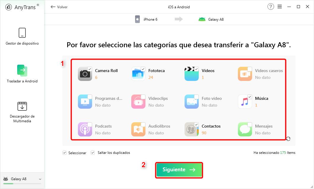Cómo pasar datos de un iPhone a un Android - Paso 3