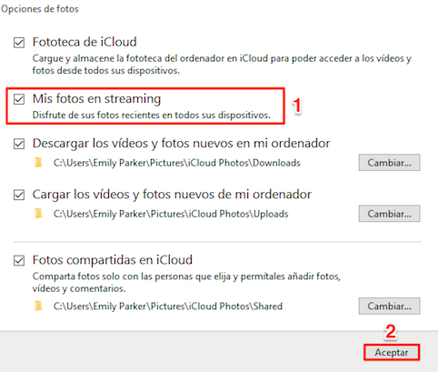 Pasar fotos de Mis Fotos en streaming al PC a través del Panel de control de iCloud - Paso 2