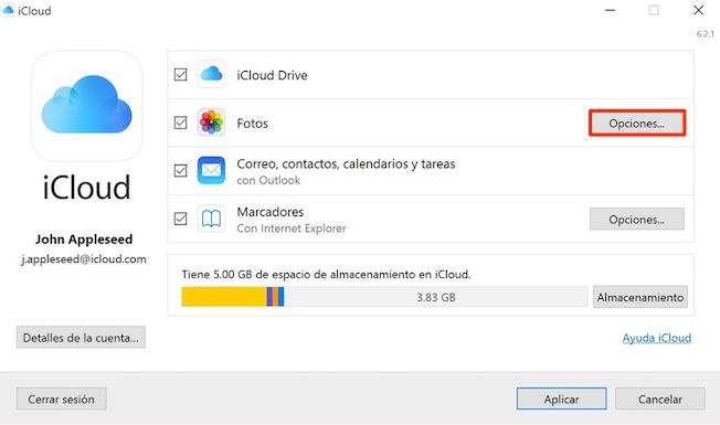 Pasar fotos de Fototeca de iCloud al PC a través del panel de control de iCloud - Paso 1