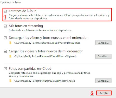 Pasar fotos de Fototeca de iCloud al PC a través del panel de control de iCloud - Paso 2