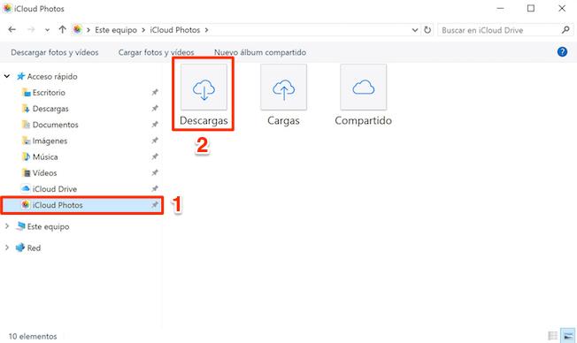 Pasar fotos de Fototeca de iCloud al PC a través del panel de control de iCloud - Paso 3