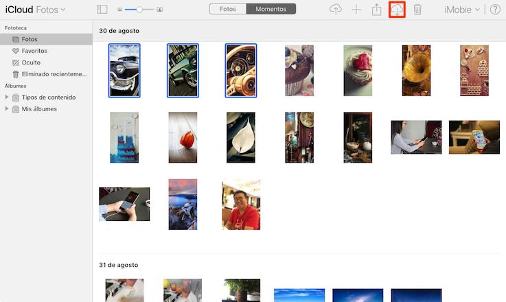 Pasar fotos de Fototeca de iCloud al PC a través de iCloud. com - Paso 3