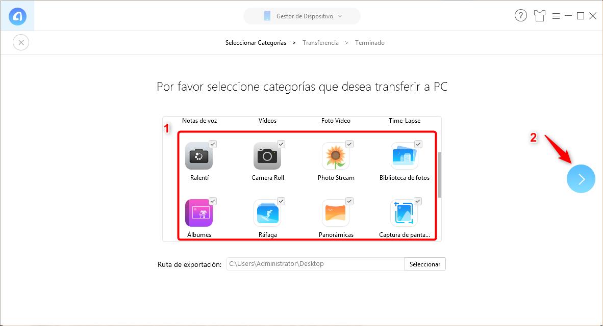 Pasar todas las fotos de iPhone a PC por 1 clic - Paso 2