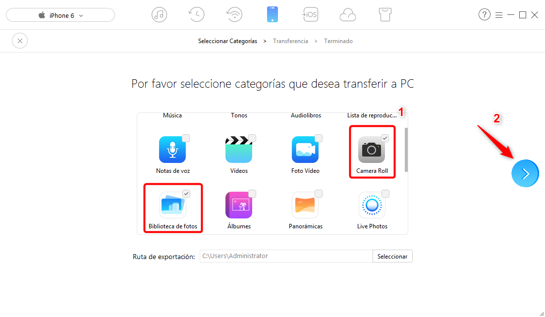 Cómo pasar fotos de iphone 6 a PC - paso 2