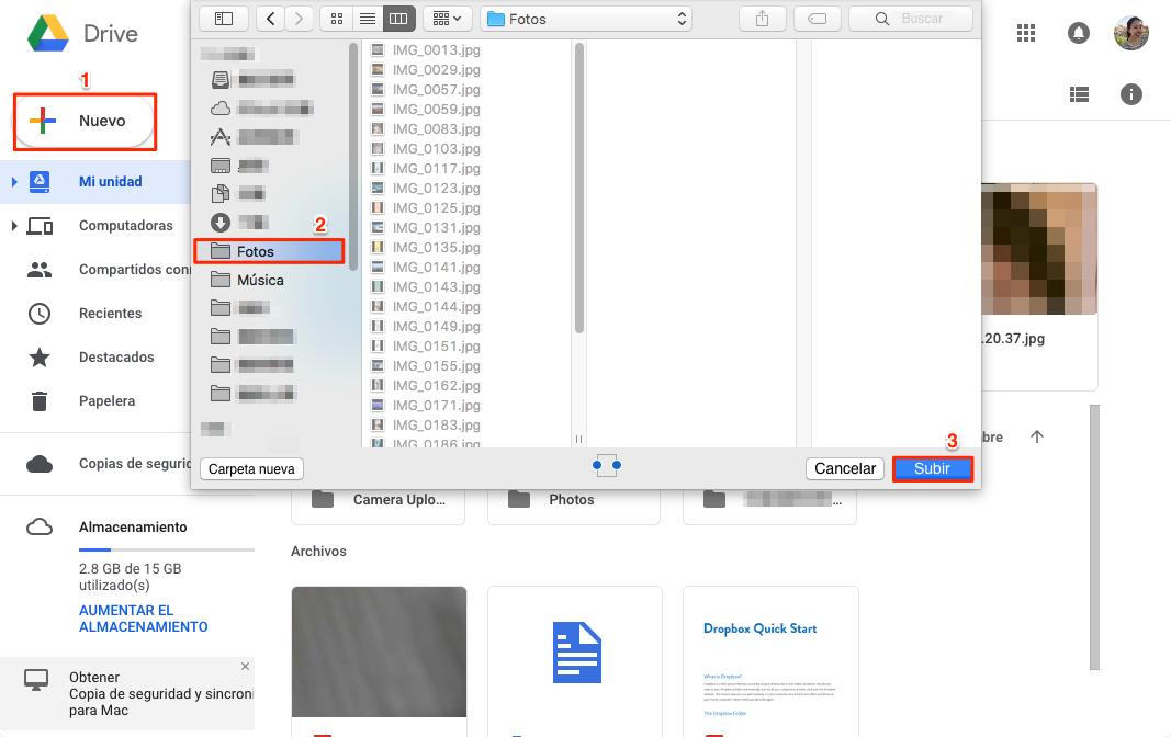 Cómo pasar iCloud a Google Drive - Paso 3