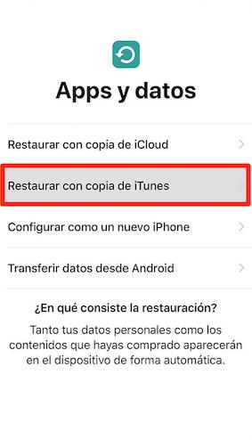 Cómopasar información deun iPhone a otro con copiade iTunes- Paso 2