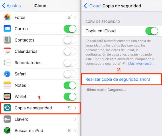Pasar información de un iPhone a otro con copia de iCloud - Paso 1