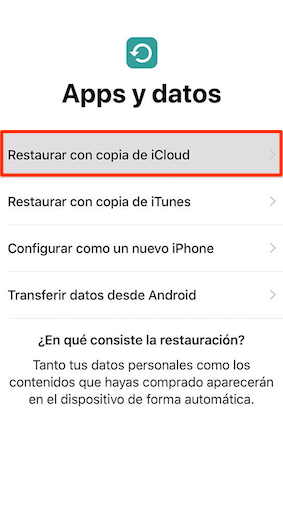 Pasar información de un iPhone a otro con copia de iCloud - Paso 2