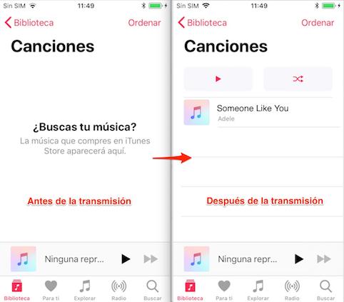 Pasar música de iPhone a iPhone