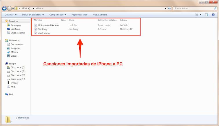 Pasar música de iPhone a PC