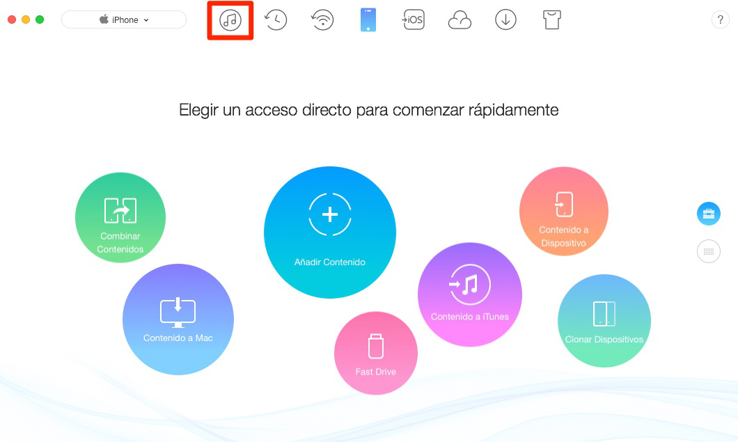 Pasar música de iTunes a iPhone con AnyTrans para iOS- Paso 1