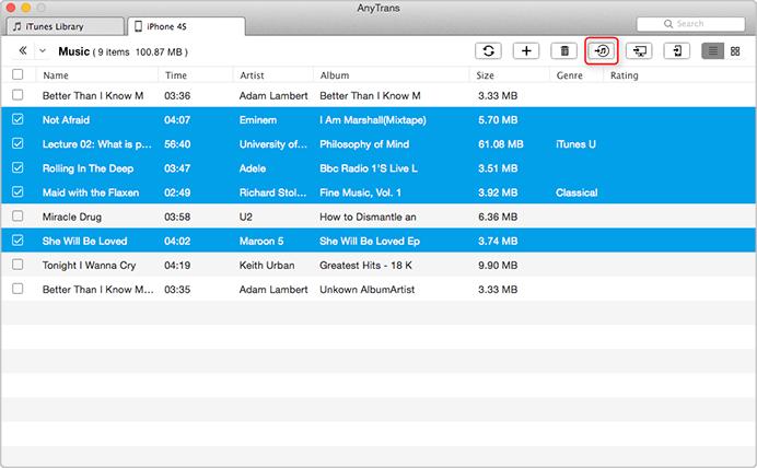 Cómo poner música desde el iPhone a la biblioteca de iTunes en Mac OS- Paso 2