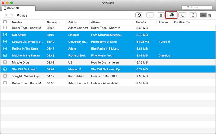 Cómo poner música desde el iPhone a la biblioteca de iTunes en Mac OS- Paso 3