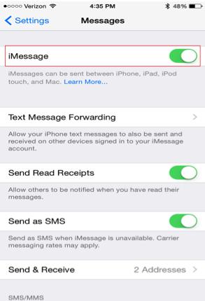 Enviar mensajes a otro iPhone como iMessage