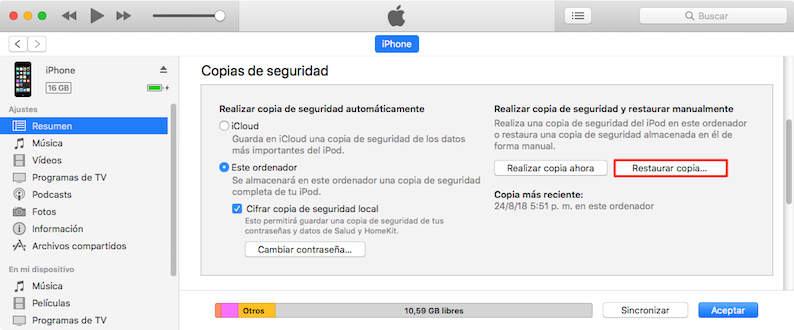 Restaura tu copia de seguridad a través de iTunes