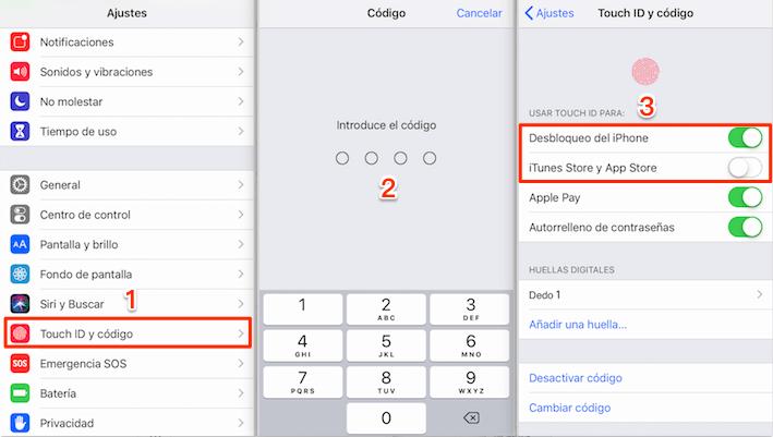 Error touch id iPhone 6 - Apaga la función Touch ID y vuelve a encenderla