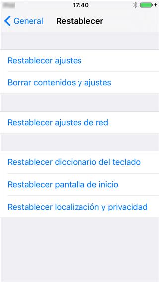 Restablece la configuración de red