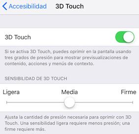 Ajuste de la intensidad del toque 3D