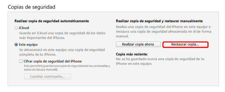 Restaura desde la copia de seguridad de iTunes