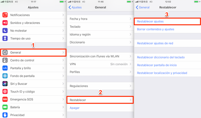 Restablecer el dispositivo iOS