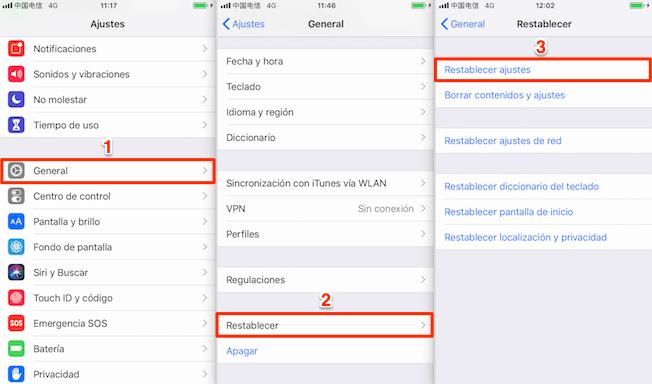 iPhone se reinicia solo - Restablece todas las configuraciones