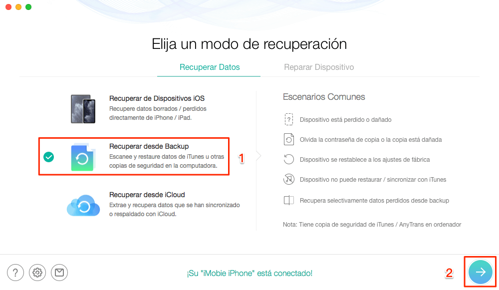 Restaurar iPhone desde la copia de seguridad de iTunes sin borrar datos - Paso 2