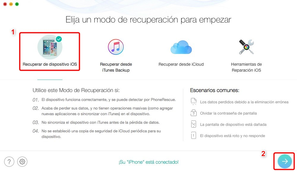 Cómo recuperar archivos borrados de WhatsApp de iPhone - Paso 1