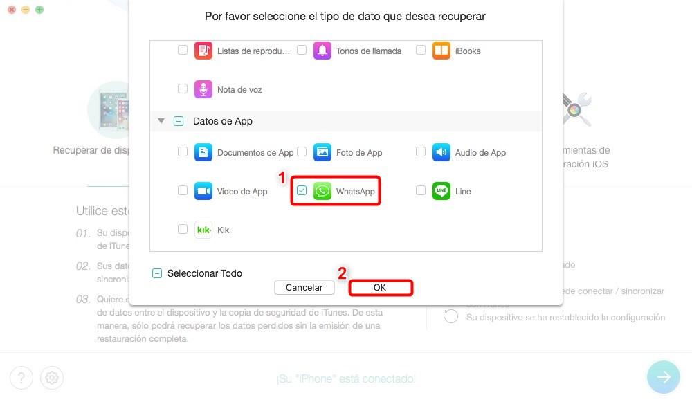Cómo recuperar archivos borrados de WhatsApp de iPhone - Paso 2