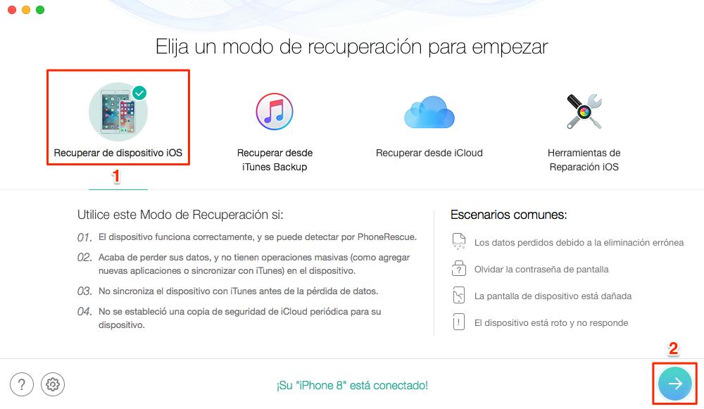 Cómo recuperar información de celular del propio iPhone - Paso 1